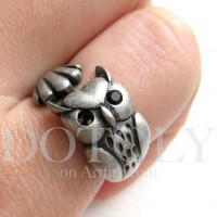 Miniature Owl Animal Wrap Ring in Silver Sizes 4 to 9 available | dotoly - Jewelry on ArtFire