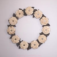 Tea Dyed Wreath Paper Flowers Leaves Antiqued by BubbleGumDish.com