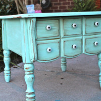 Aquamarine Vintage Nightstand /Distressed by AquaXpressions