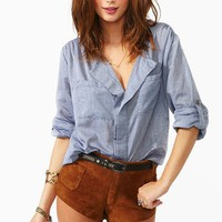 Chambray Pocket Blouse  in  What's New at Nasty Gal