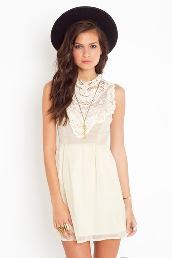 Emme Crochet Dress - Cream in  Clothes Back In Stock at Nasty Gal
