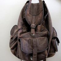 Vintage Brown Leather Backpack by inzoopsia on Etsy