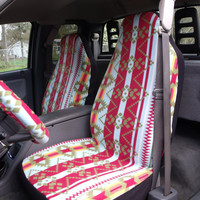 1 Set of Southern  Print Car Seat Covers and 1 Piece Steering Wheel Cover Custom Made.