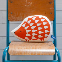 Hand Screen Printed Hedgehog Pillow in Burnt Orange