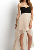 ideeli | YA LOS ANGELES High-Low Dress with Sheer Overlay Skirt