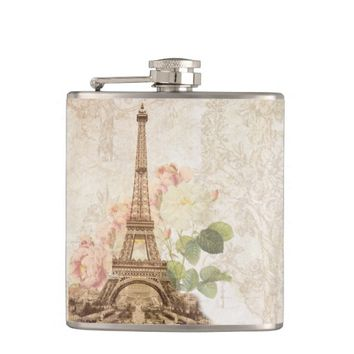 Paris Pink Rose Vintage Romantic Flask