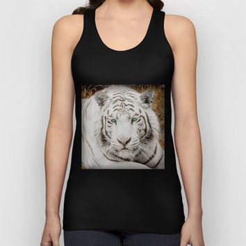 WHITE TIGER GAZE Unisex Tank Top by Catspaws | Society6