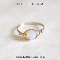 Opal ring - wire wrapped jewelry handmade - wire wrap ring - unique rings - now in gold!