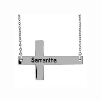 Sterling Silver Sideways Cross w/Name: Personalized Boutique, Inc.