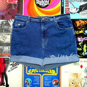 High Waist Denim Cut Offs, 90s Dark Wash STRETCH Jean Shorts, High Waisted/Frayed/Rolled Up/Cuffed Gloria Vanderbilt Shorts Plus Size 14/16