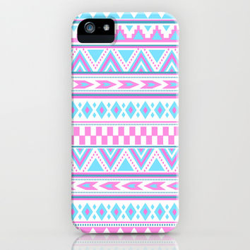 Tribal Aztec Creation art pattern design pink blue iPhone & iPod Case by tjc555 | Society6