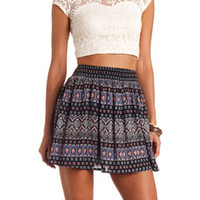 SMOCKED-WAIST PRINTED SKATER SKIRT