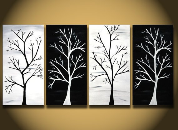 Black and White painting HUGE tree painting wall Art 48 by OritArt