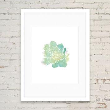 Succulent Watercolor DIY Art Print