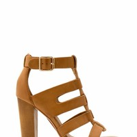 Wood You Rather Chunky Strappy Heels