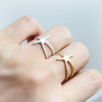 Starfish Ring, adjustable ring / choose your color- gold and silver