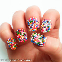 Candy Sprinkles Nails Bubblegum Gumball Artificial by niceclaws