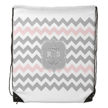 Anchor Pink Gray Chevron Monogram String Backpack