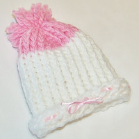 White &amp; Pink Knitted Baby Girl Newborn Pom by CrimsonHillDesignsKS