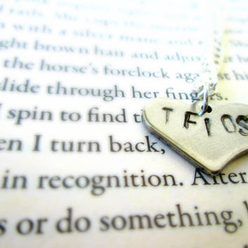 "Custom Book Anagram Heart Handstamped Necklace, 16"" inch Necklace, The Fault in Our Starts, TFIOS, Harry Potter, Hunger Games"
