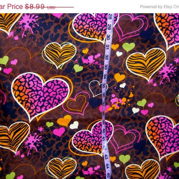 Animal print hearts cheetah zebra  colorful vivid quilt  fabric 1y quilting sewing material BTY