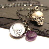 Anatomical Altered Art Skull Charm Necklace by GracefulDeviant