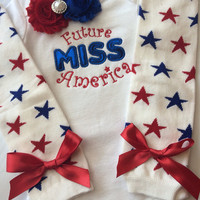 Baby Girl Outfit-  Future Miss America - 4th of july baby - Patriotic baby girl  - newborn outfit - baby legwarmers --photo prop