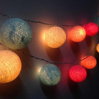 Cotton ball lights for home decor,party decor,wedding patio,20 pieces indoor string lights bedroom fairy lights,candy mixed color 2