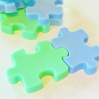 Boys Puzzle Soap Set  2 green &amp; blue natural soaps by crimsonhill