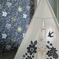 Teepee tent puddle gray screen print NO POLES by moozlehome