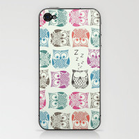 light sherbet owls iPhone &amp; iPod Skin by Sharon Turner | Society6