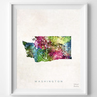 Washington Map, Olympia Poster, Watercolor, Painting, Nursery, Room, Home Town, Wall Art, USA, United States, Decor, Gift [NO 383]