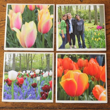 Your Personalized Custom Photo Ceramic Tile Coasters Spring Gift - Set of 4