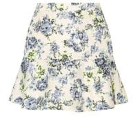 Blue Floral Print Crepe Drop Hem Skirt