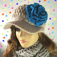HAT Newsboy KNITTING PATTERN - Penélope Newsboy Knitted Hat with Crochet flower - Crochet Pattern