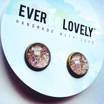 metallic gold dust and purple lavender stud earrings - nickel free lead free
