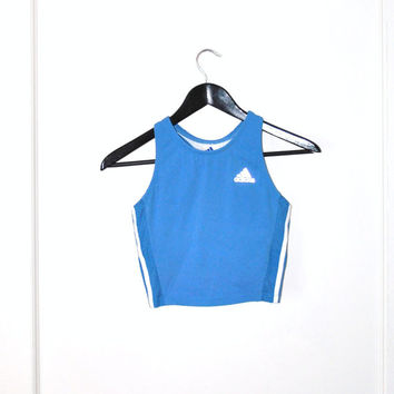 early 90s ADDIDAS crop top / baby blue athletic workout tank sports bra