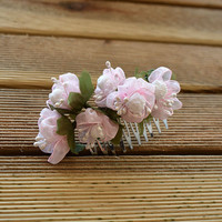 Wedding  Flower Hair Combs, Pink Hair Flower Combs. Bridal Hair Pieces,  For Women Accessories, Women Accessories