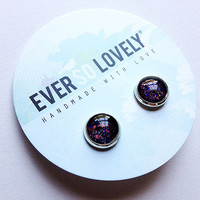 meteor shower earrings - black and silver green and red starry night handmade sparkly metallic nickel free post earrings