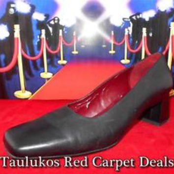 Womens shoe NATURALIZER Navy Blue LEATHER Chunky High Heel Pumps Well Worn 7.5 M