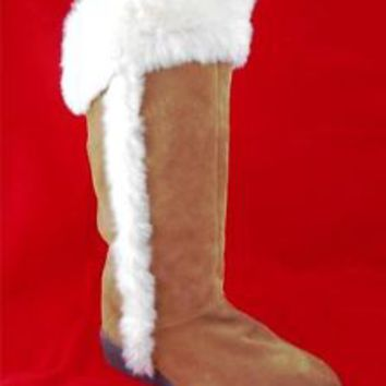 Womens shoes GAP Brown Suede LEATHER Fashion BOOTS Calf Flat Winter Faux Fur 4 M