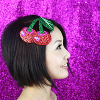 Glitter cherries fascinator fun burlesque style by janinebasil