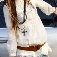 White Three-Quarter/Long Sleeve Top - Lace Bohemian Shirt | UsTrendy
