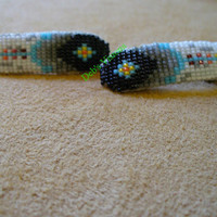 Set of small square stitch beaded Feather barrettes