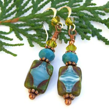 Turquoise Lime Handmade Earrings Czech Glass Jewelry Swarovski Beaded