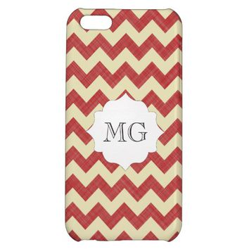 Red White Zigzag Chevron Monogram Iphone 5C Cases