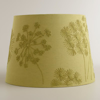 Green Blossoms Embroidered Table Lamp Shade - World Market