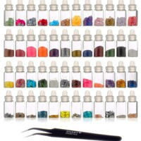SHANY Cosmetics 3D Nail Art Decoration Mini Bottles with Nail Art Tweezer, 48 Count:Amazon:Beauty