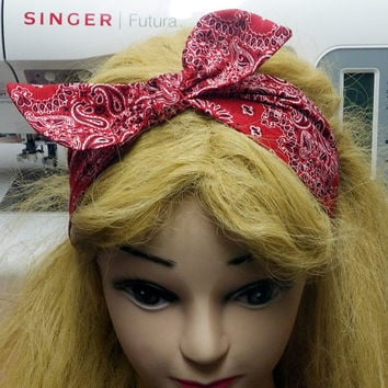 Red Bandana Headband with Bow, Pinup Girl Headband, Retro Style Head Piece