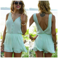 Casa De La Playa Light Lime Crepe Romper